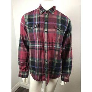 SEVEN Large Shirt Plaid Red Black 100% Cotton